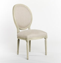 Medallion Side Chair (White Cotton-Antique White Wood) - one pair