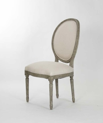 Medallion Side Chair (Off White Cotton - Faux Olive Green)- one pair