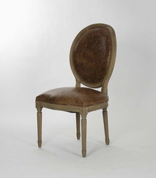 Medallion Side Chair (Leather - Stained Oak) - one pair