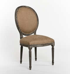 Medallion Side Chair (Copper Linen-Limed Charcoal) - one pair