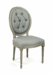 Medallion Tufted Back Side Chair (Blue Green Linen-Faux Olive Green) - one pair