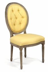 Medallion Tufted Back Side Chair (Yellow Linen-Limed Grey Oak) - one pair