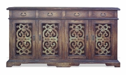 Mediterranean Sideboard with Hand Carved Lattices