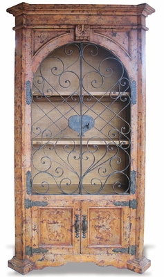 Old World Armoire Elena with Wrought Iron