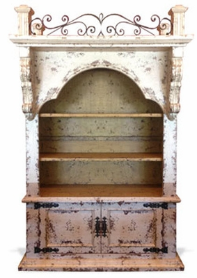 Old World Bookcase Balcony with Wrought Iron