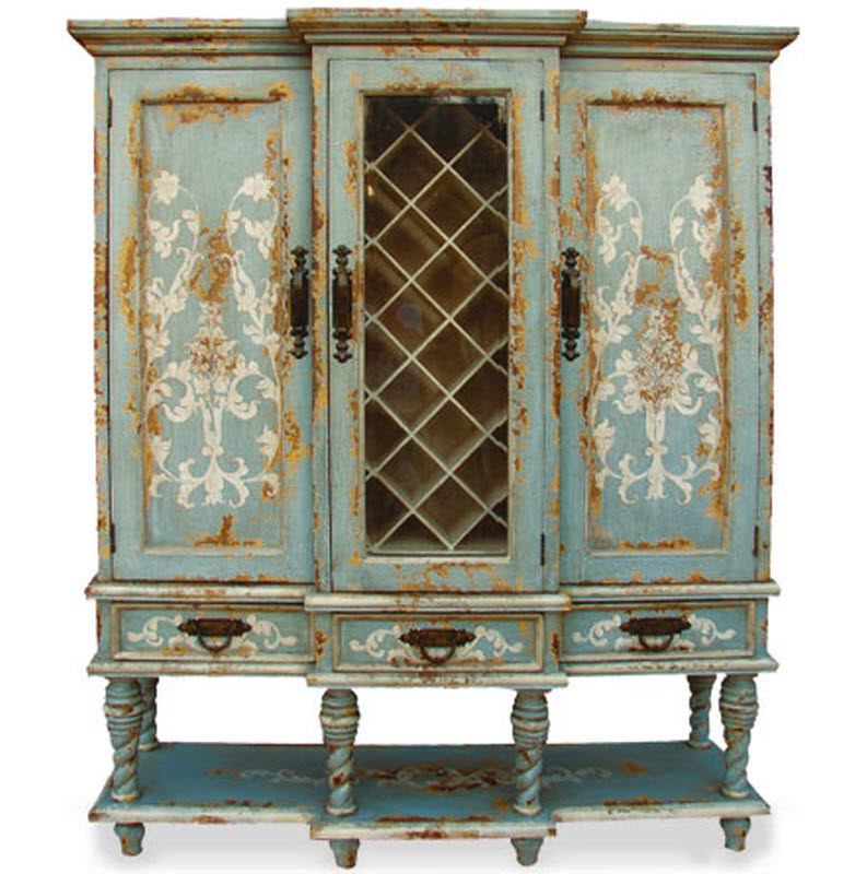 Old World Hand Painted Wine Cabinet, Essex Manor