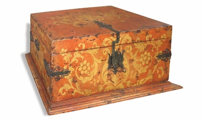 Old World Trunk with Hand Forged Hinges, Lock & Key
