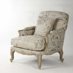 Paris Club Chair (French Script Fabric)
