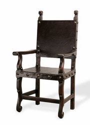 Peruvian Leather Arm Dining Chair (one pair)
