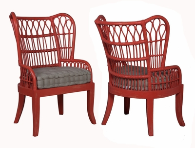 Rattan Wing Back Chair   One Pair