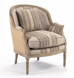 Roland Club Chair (Stripe and Solid Fabric)