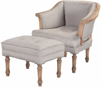 Sofa Wing Chair and Ottoman  sc 1 st  Elegant Finds for Your Home & SOFA WING CHAIR OTTOMAN HONEY OAK LINEN GUILDMASTER