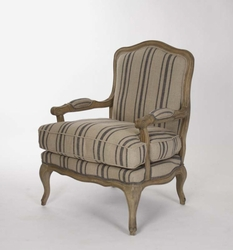 BASTILLE LOVE CHAIR  (ENGLISH KHAKI LINEN - BLUE STRIPE FABRIC)
