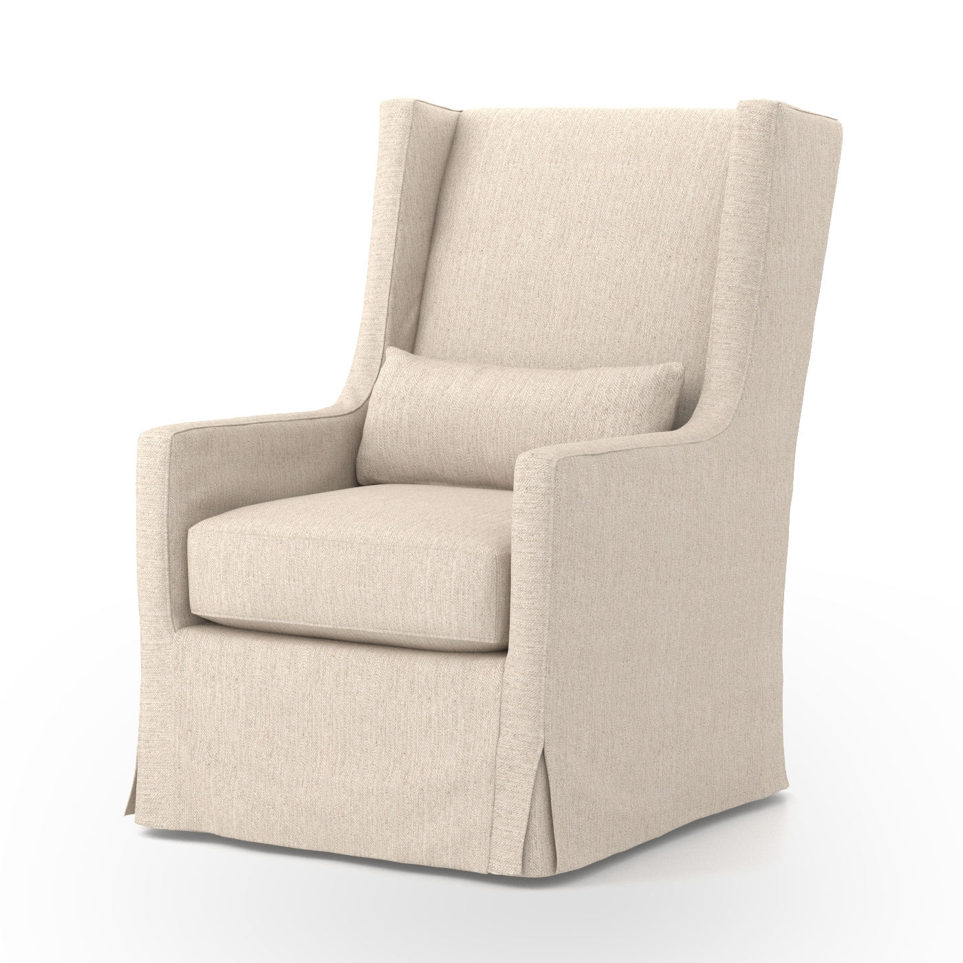 SWIVEL WING CHAIR SLIPCOVERED LINEN FOUR HANDS