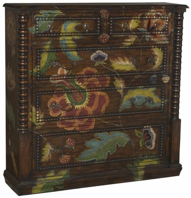 Tall Wall Chest (Jacobean Floral)