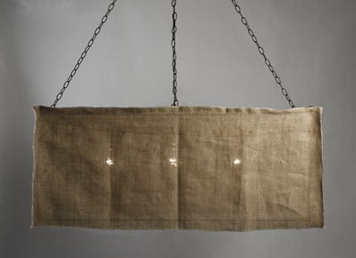 THREE LIGHT BURLAP RECTANGULAR DINING FIXTURE