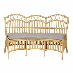 Three Seat Rattan Bench with Cushion