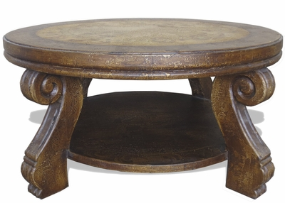 Traditional Tuscan Coffee Table, Round Romana
