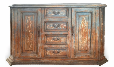 Tuscan Buffet Rust Blue and Terra Cotta