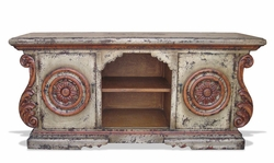 TV Media Cabinet, Hand Painted Old World