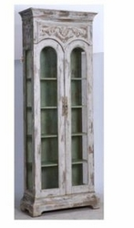 Victorian Display Cabinet (Distressed White with Robins Egg)
