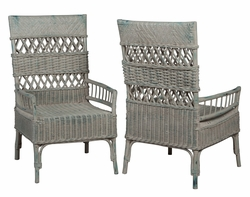 Woven Rattan Arm Chairs - one pair