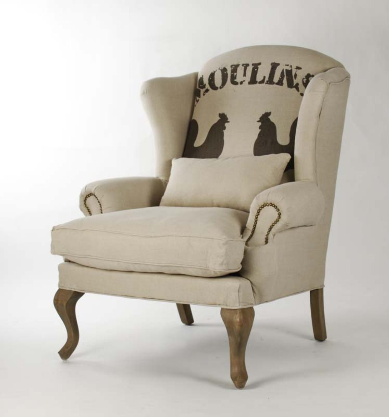 Exceptional ZACHARIE CLUB CHAIR (ROOSTER FABRIC)