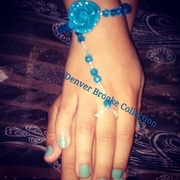 Beaded blue rose ringalet