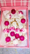 Pearly Pink bracelet and earring set