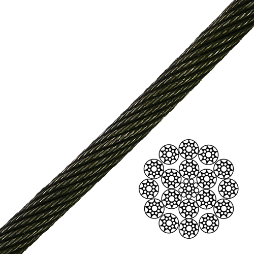 """1"""" 19x19 Compacted Spin-Resistant Wire Rope - 118000 lbs Breaking Strength"""