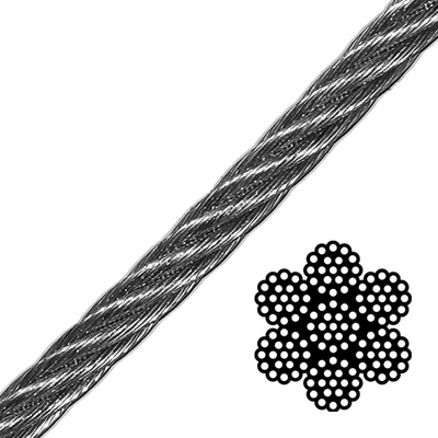 "1/2"" 6x19 Class Galvanized Wire Rope - 24000 lbs Breaking Strength"