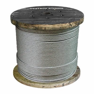 "1/2"" x 5000 ft 6x19 Class Galvanized Wire Rope - 24000 lbs Breaking Strength"