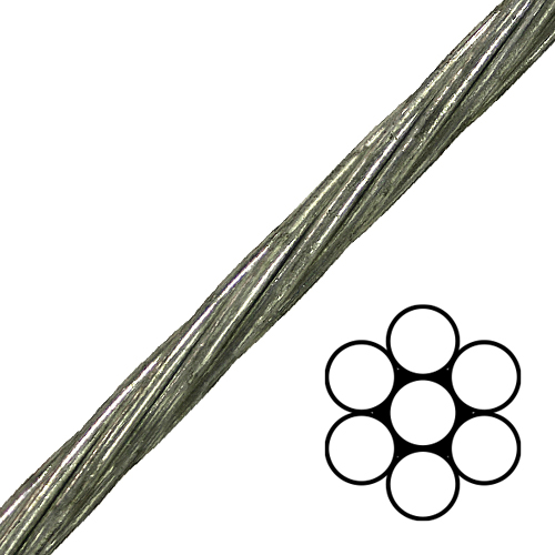 """1/4"""" 1x7 EHS Galvanized Guy Strand Cable - 6650 lbs Breaking Strength"""