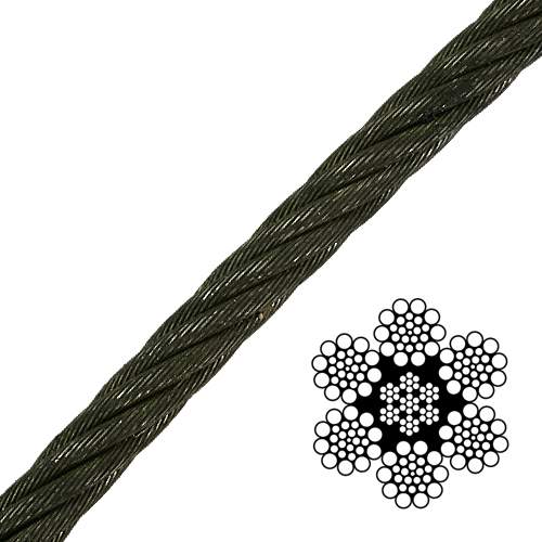 """1/4"""" 6x19 Class Wire Rope - 6880 lbs Breaking Strength"""