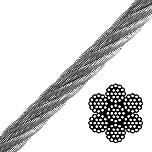 """1"""" 6x19 Class Galvanized Wire Rope - 93000 lbs Breaking Strength"""