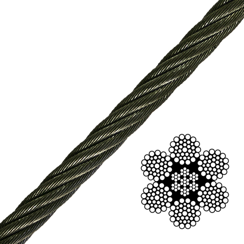 "1"" 6x36 Class Wire Rope - 103400 lbs Breaking Strength"