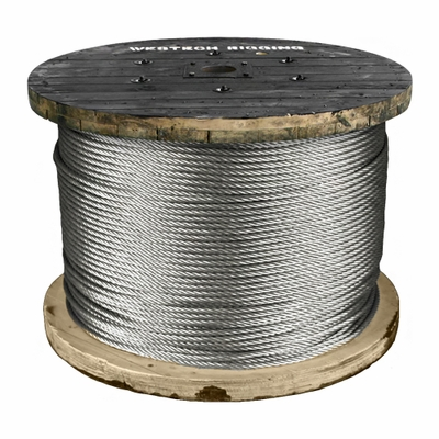 "3/16"" 7x19 x 1000 ft Galvanized Aircraft Cable - 4200 lbs Breaking Strength"