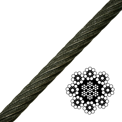 "3/4"" 8-Strand Spin-Resistant Wire Rope - 51800 lbs Breaking Strength"