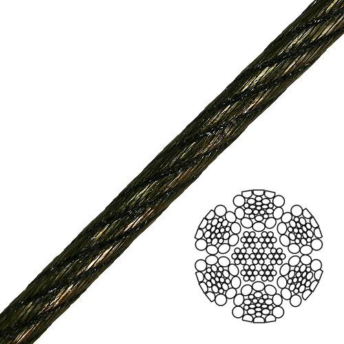 "3/8"" 6x26 Swaged Wire Rope - 18500 lbs Breaking Strength"