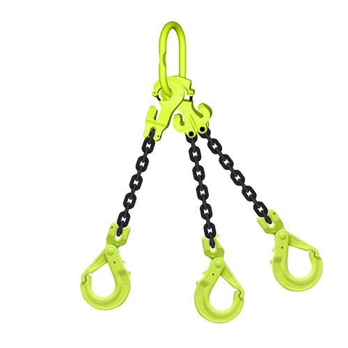 "3/8"" x 15 ft TG3-GBK GrabiQ Adjustable 3-Leg Grade 100 Chain Sling - 22900 lbs WLL"
