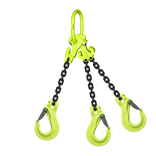 "3/8"" x 5 ft TG3-EGKN GrabiQ Adjustable 3-Leg Grade 100 Chain Sling - 22900 lbs WLL"