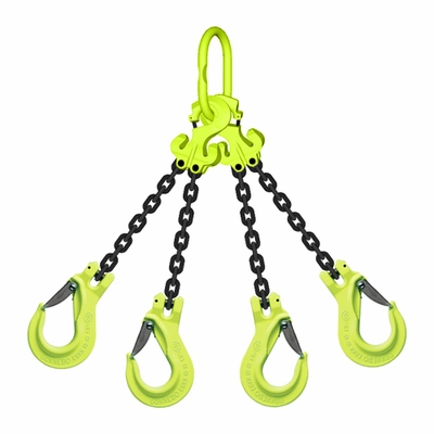 "3/8"" x 5 ft TG4-EGKN GrabiQ Adjustable 4-Leg Grade 100 Chain Sling - 22900 lbs WLL"