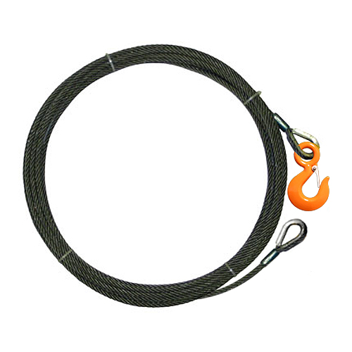 """3/8"""" x 50 ft Wire Rope Winch Line Extension - 15100 lbs Breaking Strength"""