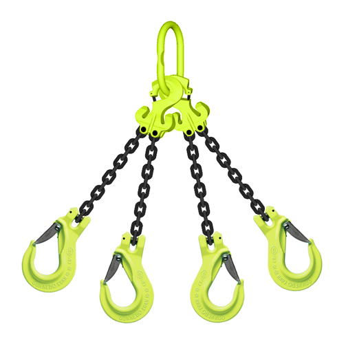 "5/16"" x 15 ft TG4-EGKN GrabiQ Adjustable 4-Leg Grade 100 Chain Sling - 14800 lbs WLL"