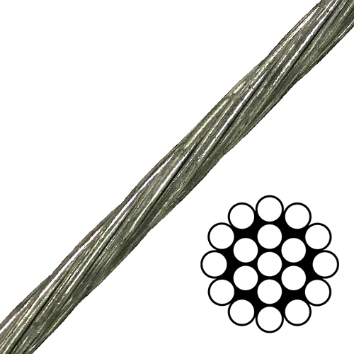 """5/8"""" 1x19 EHS Galvanized Guy Strand Cable - 40200 lbs Breaking Strength"""