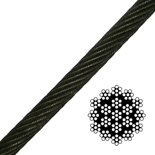 "9/16"" 19x7 Spin-Resistant Wire Rope - 27200 lbs Breaking Strength"