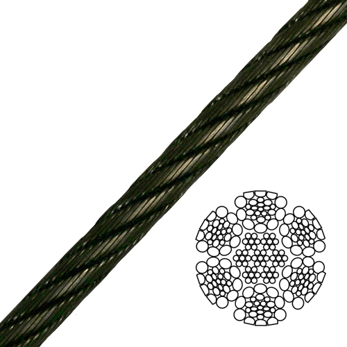 """9/16"""" 6x26 Impact Swaged Wire Rope - 46700 lbs Breaking Strength"""