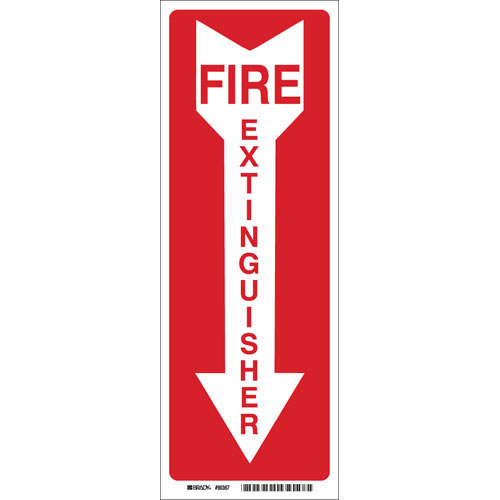 "Brady Safety Sticker - ""Fire Extinguisher w/ Arrow"""