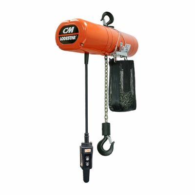 CM 1 Ton x 20 ft Lodestar Electric Chain Hoist - 230/460-3-60V
