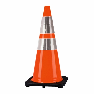"Cortina 28"" Black Base Traffic Cone - 4"" & 6"" Reflective Collar"